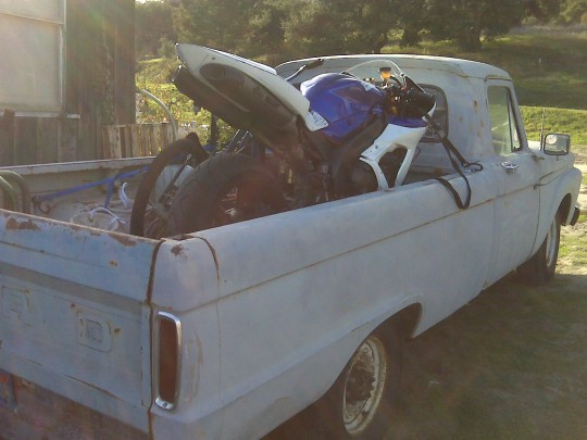 Hauling my R1 to the race track in my 1964 Ford F250. This was my primary truck in the early years, and my only truck after getting a divorce. (Dec 2008)