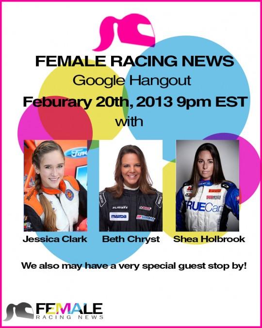 FemaleRacingNews, Google Hangout, Shea Holbrook, Beth Chryst, Jessica Clark
