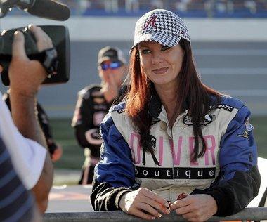 Jennifer Jo Cobb gives an interview at Talladega last year. (The Birmingham News/Michelle Campbell)